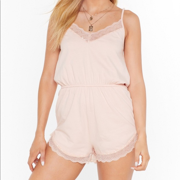 Nasty Gal Pants - Lacey Light Pink Cotton Romper